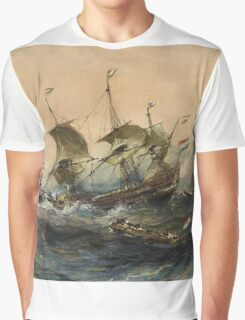 Eugene Isabeyr - Dutch Ships In A Storm 1839.  Isabeyr - sea landscape. Graphic T-Shirt