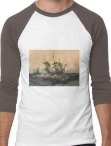 Eugene Isabeyr - Dutch Ships In A Storm 1839.  Isabeyr - sea landscape. Men's Baseball ¾ T-Shirt