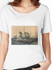 Eugene Isabeyr - Dutch Ships In A Storm 1839.  Isabeyr - sea landscape. Women's Relaxed Fit T-Shirt