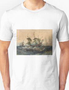 Eugene Isabeyr - Dutch Ships In A Storm 1839.  Isabeyr - sea landscape. Unisex T-Shirt