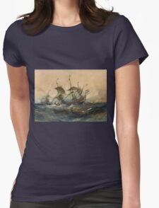 Eugene Isabeyr - Dutch Ships In A Storm 1839.  Isabeyr - sea landscape. Womens Fitted T-Shirt