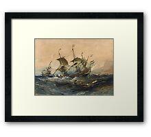 Eugene Isabeyr - Dutch Ships In A Storm 1839.  Isabeyr - sea landscape. Framed Print