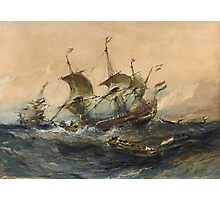 Eugene Isabeyr - Dutch Ships In A Storm 1839.  Isabeyr - sea landscape. Photographic Print