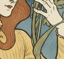 Eugene Samuel Grasset  - Salon Des Cent 1894. Eugene Samuel Grasset  - woman portrait. Sticker