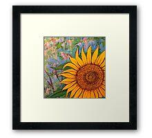 Sunny Beanstalks sunflower closeup Framed Print