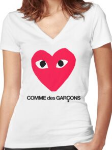 CDG Red Women's Fitted V-Neck T-Shirt