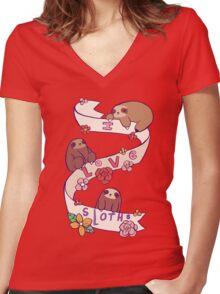 I Love Sloths Women's Fitted V-Neck T-Shirt