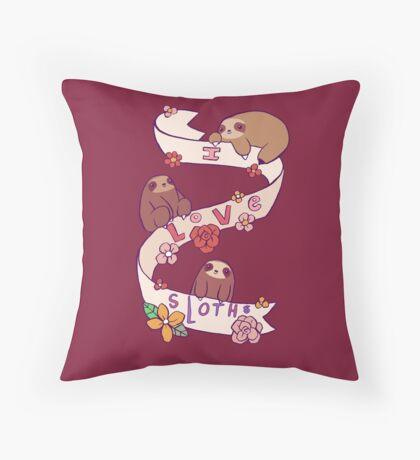 I Love Sloths Throw Pillow