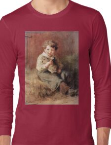 Felix Schlesinger - Pet Rabbit. Felix Schlesinger - boy with Rabbit. Long Sleeve T-Shirt