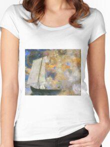 Odilon Redon - Flower Clouds. Odilon Redon - sea landscape. Women's Fitted Scoop T-Shirt