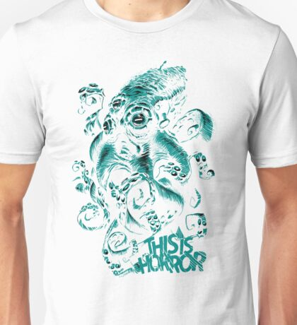 This Is Horror Green on White OctoTerror T-Shirt