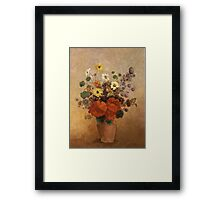 Odilon Redon - Flowers In A Vase. Odilon Redon - still life with flowers. Framed Print