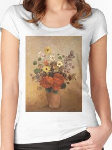 Odilon Redon - Flowers In A Vase. Odilon Redon - still life with flowers. Women's Fitted Scoop T-Shirt