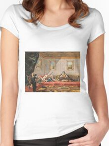 Francesco Guardi  - Two Odalisques Playing Music In The Harem 1742.  Guardi - woman portrait. Women's Fitted Scoop T-Shirt