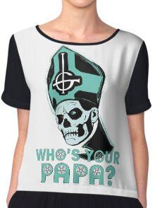 WHO'S YOUR PAPA? - light aqua Chiffon Top