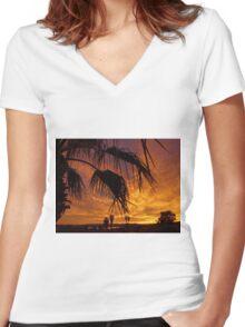 Golden Skies Women's Fitted V-Neck T-Shirt