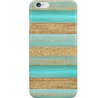 Turquoise Brown Faux Gold Glitter Stripes Pattern iPhone Case/Skin