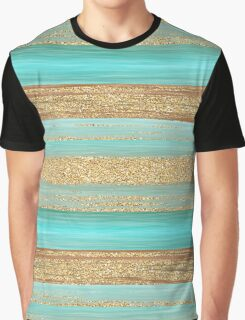 Turquoise Brown Faux Gold Glitter Stripes Pattern Graphic T-Shirt