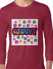 colorful Groovy text design. Long Sleeve T-Shirt