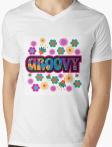 colorful Groovy text design. Mens V-Neck T-Shirt