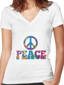 colorful Peace text design. Women's Fitted V-Neck T-Shirt