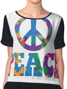 colorful Peace text design. Chiffon Top
