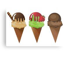 Set of ice cream cones. Metal Print
