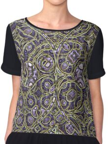 Violet Purple Faux Gold Victorian Swirls Pattern Chiffon Top