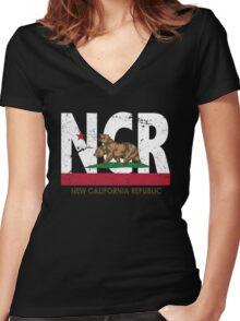 New California Republic Women's Fitted V-Neck T-Shirt