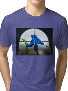 Funky Blue Flower Tri-blend T-Shirt