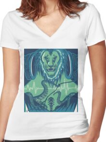 The Lion, the Pitch, and the Headphones Women's Fitted V-Neck T-Shirt