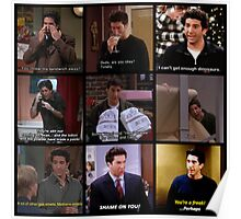 Ross Geller Quotes Collage #2 Poster