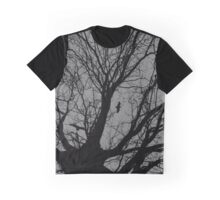 Monchrome Tree And Birds Graphic T-Shirt
