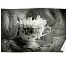 Tea Cup, Lace & Frangipanis Poster