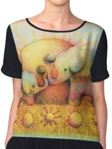 rainbow elephant blessing Women's Chiffon Top