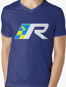 Volvo R Design Racing Graphic WHT2 Mens V-Neck T-Shirt