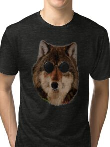 WOLF WEARING GLASSES Tri-blend T-Shirt