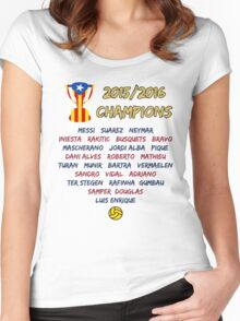 Barcelona 2015/2016 Spanish League Champions Women's Fitted Scoop T-Shirt