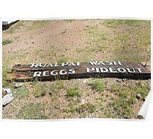 Fallen sign in the desert Poster