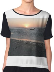 A lonely boat at sunset Chiffon Top