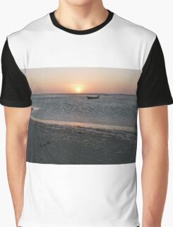 A lonely boat at sunset Graphic T-Shirt