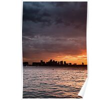 Boston Harbor sunset Poster