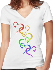 Hearts of PRIDE Women's Fitted V-Neck T-Shirt
