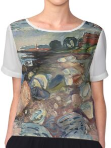 Edvard Munch - Shore With Red House. Munch - seashore landscape. Chiffon Top