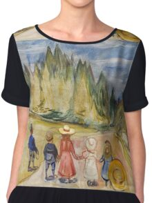 Edvard Munch - The Fairytale Forest. Munch - child portrait. Chiffon Top