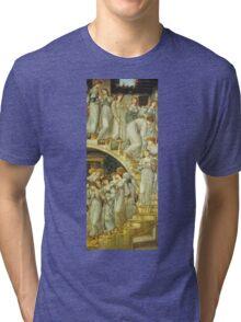 Edward Burne-Jones  - The Golden Stairs 1880. Burne-Jones  - woman portrait. Tri-blend T-Shirt