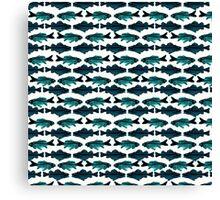 Fish (blue on white) Canvas Print