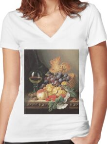 Edward Ladell - A Basket Of Grapes, Raspberries. Edward Ladell - still life with fruits and glass of wine. Women's Fitted V-Neck T-Shirt