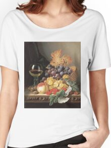Edward Ladell - A Basket Of Grapes, Raspberries. Edward Ladell - still life with fruits and glass of wine. Women's Relaxed Fit T-Shirt