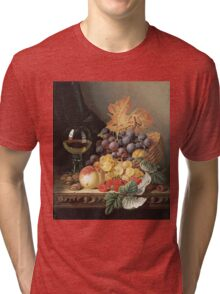 Edward Ladell - A Basket Of Grapes, Raspberries. Edward Ladell - still life with fruits and glass of wine. Tri-blend T-Shirt